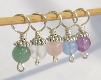 2 sets of semi precious stitch markers for Greenfrog14