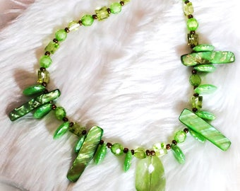 Green Goddess Beaded Shell Necklace