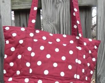 Handmade Burgandy Zip Top Quilted Tote Bag