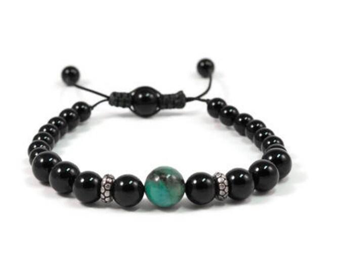 Urban Men's Onyx & Crysocola Pull Tie Single Bracelet. Boho Jewelry. Bohemian Jewelry. Ideas for him. Gift for him.