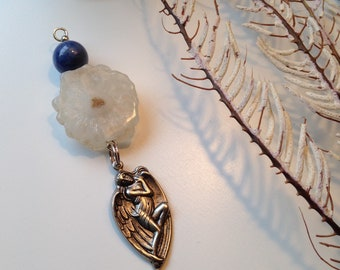 Upcycled Vintage Charm with Quartz Flower Slice and New Findings