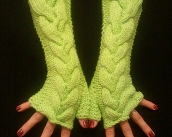 Cabled Fingerless Gloves Wrist Warmers Light Green Soft and Comfortable