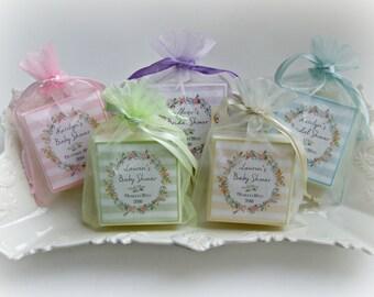 Bridal Shower Favors, Baby shower favors,  set of 10 soap favors, Pastel stripes