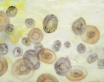 Abstract encaustic painting, SEM image art, abstract art, abstract blood cell art