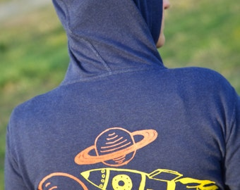 Rocket to the Space Ship Galaxy Zip Hoodie Unisex