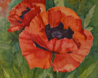 Poppy painting floral watercolor painting poppy field painting original fine art painting watercolor poppy flower poppy art orange floral