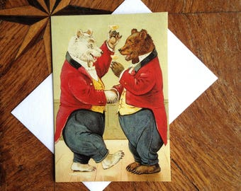 Cheers! Vintage Bear Greeting Card Repro.  Great Celebratory Card! Congratulations!