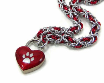 BDSM Slave Collar Red Lock Silver Paw Print Chainmail Day Collar Kitten Submissive