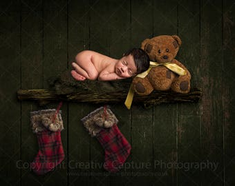 Newborn Christmas Digital backdrop / Shelf / stockings / teddy