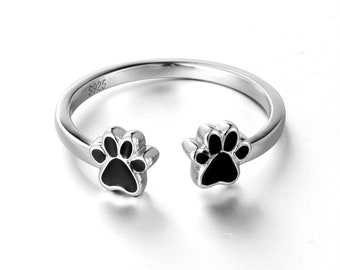 S925 Sterling Silver Cat Dog Puppy Paw Open Adjustable Ring Size 6 7 8