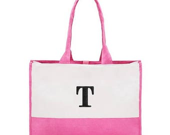 Personalized Tote Bag - Canvas Tote Bag - Colorblock Tote -  Pink Tote Bag - Bridesmaid Gift - Beach Wedding - Destination Wedding Gift