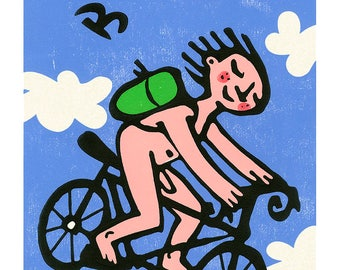 Be Free Biker poster by Mike Levy  illustration/cycling/clouds/blue/fields/naked/print