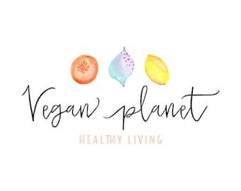 Premade Logo Design, Watercolor Fruits Logo, Nutrition Vegan Vegetarian Natural Food Blog Logo Bakery Logo, Cafe Restaurant Illustrated Logo