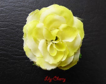 Small pink artificial flower yellow/green gradient for hair decoration x 1