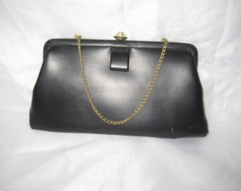 Black faux leather clutch, evening formal clutch, small purse, clutch with chain handle, vintage 60s clutch, mid century, bags and purses
