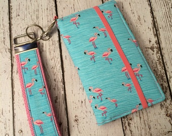 Flamingo print iPhone wallet case with removable gel case