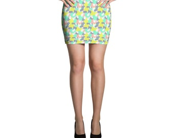Pastel Camouflage Patterned Mini Skirt