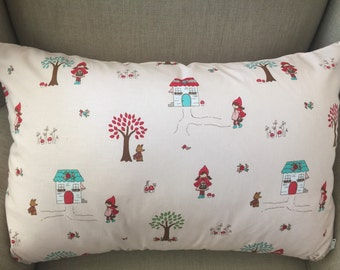 Large Rectangle Cushion/Pillow Cover in Little Red Riding Hood by Tasha Noel for Riley Blake Designs. The back is in Toadstools.