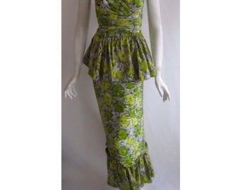 Amazing 1940s Silk Hawaiian Dress with Detachable Peplum