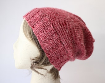 Heathered Red Alpaca Blend Slouchy Knit Hat, Slouchy Knit Hat, Slouchy Knit Beanie, Hand Knit Hat, Hand Knit Beanie, Winter Hat, Hipster Hat