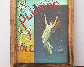 Plunge into Space Art Deco Poster, Outer Space Art Print, Boho Art, Vintage Art, Science Fiction, Space Nursery, Vintage Decor, Gift for Mom