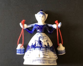 Delft Hand Painted Bell, Dutch Girl With Water Pails, Cobalt Blue Bell, Porcelain Bell, Blue Kitchen Decor, Ceramic Collectible Bell, Dinner