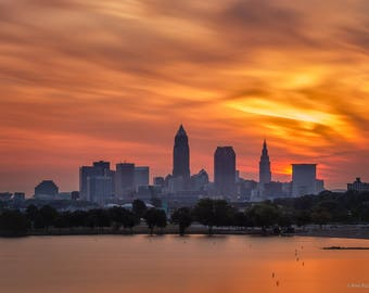 Cleveland Ohio Skyline Early Morning - Long Exposure  - Fine Art Photography - Cityscape, Landscape Print - Wall Art - Wall Decor