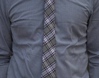 Light Grey, White, and Purple Plaid Skinny Necktie
