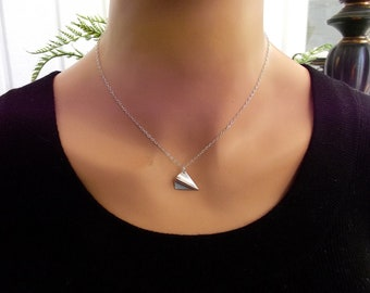 Silver Airplane Necklace, Origami Necklace, Paper Plane Necklace, Silver Airplane,  3D, Sterling Silver Necklace