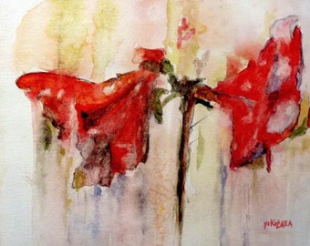 watercolor red amaryllis
