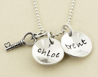 Key to My Heart - Two Names Hand Stamped Mothers Necklace - Sterling Silver Personalized Necklace-Christina Guenther