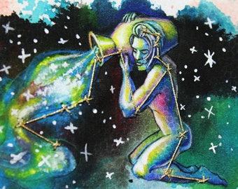 Aquarius- The Water Bearer- Mixed Media Fabric Illustration- Framed Original