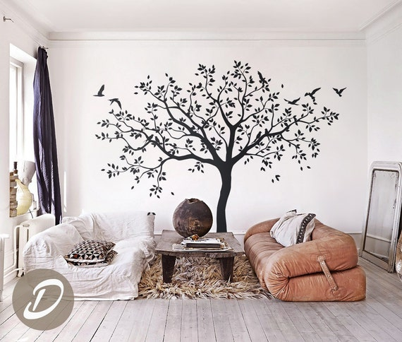 Grand arbre stickers arbres sticker p pini re arbre mural for Mural en francais