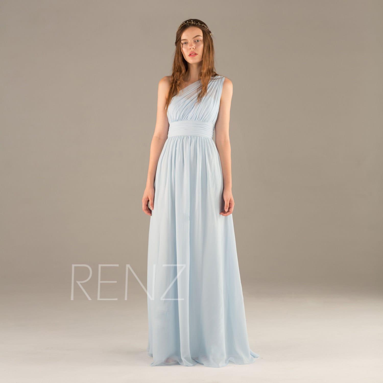 Bridesmaid Dress Light Blue Chiffon DressOne Shoulder Maxi