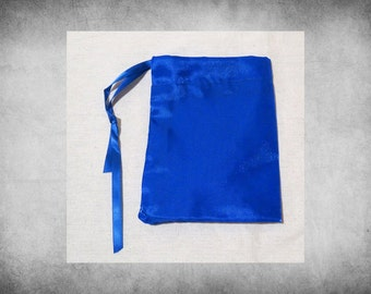 "Crystal Satin - 4x5"" Blue drawstring bag. Great for crafts, storage, and gift wrap! BAG-306"