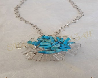 Shara-Silver 925, topaz and blue necklace. Exclusive.