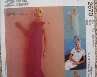 UNCUT Misses Dress in Two Lengths - Size 20, 22, 24 - McCalls Pattern 2670