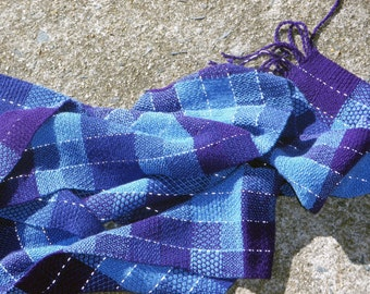 Indigo Reflective Scarf - Hand woven, night safe, purple pixels