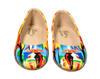 Hand Painted Genuine Leather Ballerinas -Affection