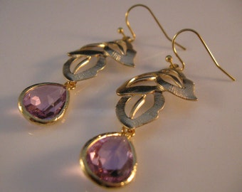 Lavendar Bezel Earrings,gold earrings,drop earrings,dangle earrings,cascading leaves,bezel earrings,earrings,jewelry