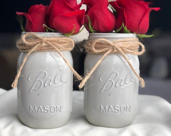 Gray Mist Mason Jars