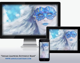 Indian Leafwing Butterfly Mask Fairy Woman Girl Sprite Masquerade Wallpapers for Desktop, Phone, and Tablet