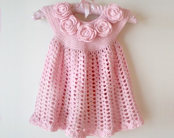 "Baby dress pattern , Baby Dress ""Rose"" , Baby Dress Crochet Pattern , Pink Baby Dress , Toddler Dress"