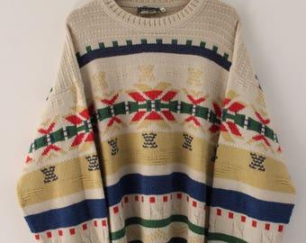 Vintage Sweater Jumper Aztec Style Size XL