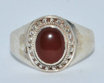 Sterling Silver Traditional Asian Vintage Style Carnelian Stone Ring Size R Gift