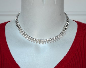 Rhinestone Teardrop Choker Necklace Vintage