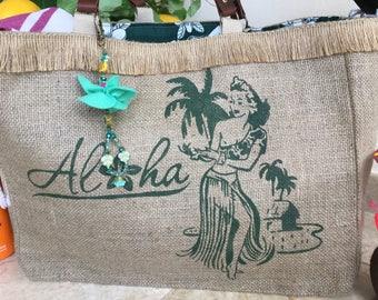 Beach Bag Shopper, Green Hula Girl, Hawaiian Style, Tote, with keychain, Tropical, Jute Fabric