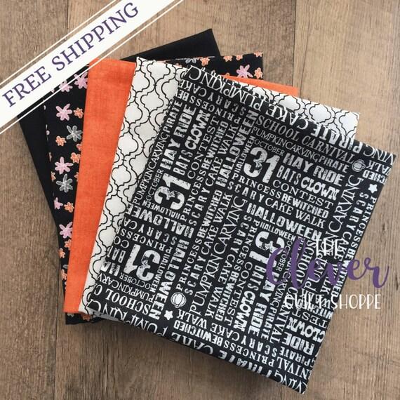 Halloween, Fat Quarter Bundle,  Trick or Treat, Penny Rose, Riley Blake Designs, Orange, Black, Quilting Fabric, Precut, Flowers, Geometric