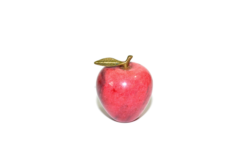 Vintage Marble Apple Paperweight Red Marble Apple Alabaster