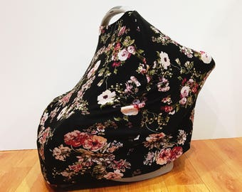 """Infant Baby Stretchy Multi-Functioning """"Autumn Bloom"""" Car Seat Cover, Nursing Cover, Cart Cover"""